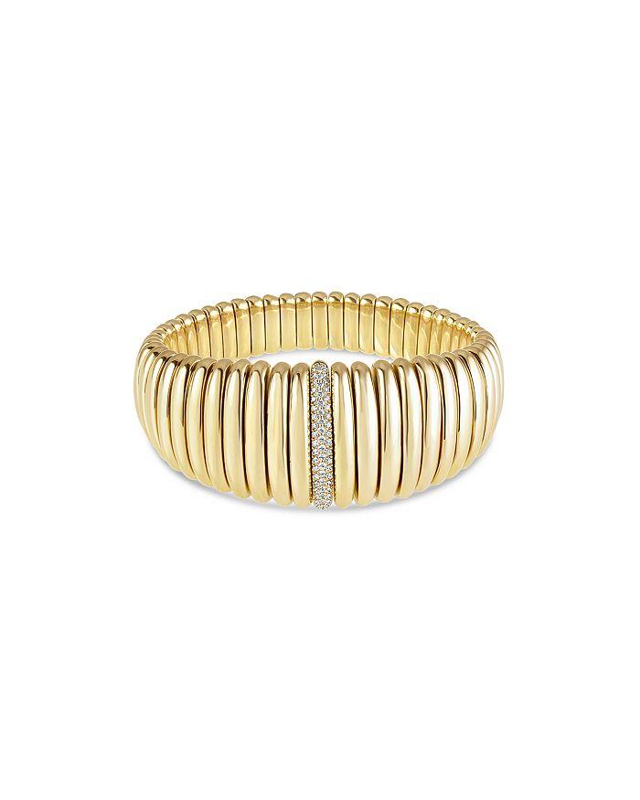 Hulchi Belluni - 18K Yellow Gold Tresore Diamond Graduated Banded Bracelet