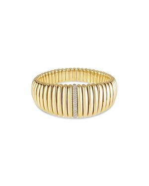 HULCHI BELLUNI 18K Yellow Gold Tresore Diamond Graduated Banded Bracelet in White/Gold