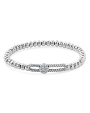 HULCHI BELLUNI 18K White Gold Tresore Diamond Wide Station Stretch Bracelet