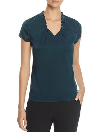 BOSS - Isamara Ruffle V-Neck Silk Top
