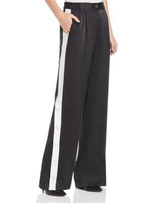 Arwen Striped Silk-Satin Wide-Leg Pants, True Black