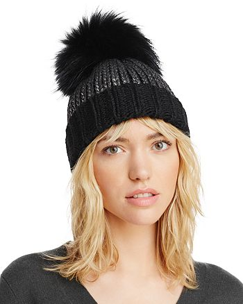 AQUA - Metallic Fur Pom Pom Hat - 100% Exclusive