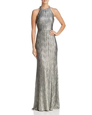 Adrianna Papell Crinkle Foil Gown