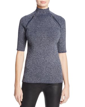 Kenneth Cole Zip Detail Metallic Sweater