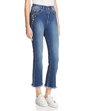 Karen Millen Embroidered Fringed-Hem Jeans - 100% Exclusive