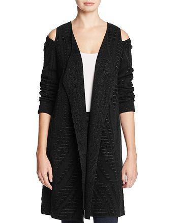 NIC and ZOE - Winter Reign Metallic Cold Shoulder Duster Cardigan