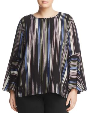 Vince Camuto Plus Stripe Bell Sleeve Top