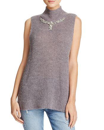 FRENCH CONNECTION - Mathilde Embellished Split-Back Sweater Vest