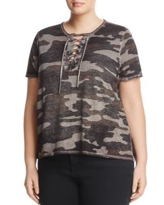 LUCKY BRAND PLUS Trendy Plus Size Lace-Up T-Shirt in Grey Multi