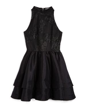 Miss Behave Girls' Embroidered & Tiered Dress - Big Kid