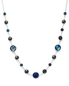 IPPOLITA - Sterling Silver Lollipop Lapis Triplet, London Blue Topaz & Hematite Necklace in Eclipse, 18""