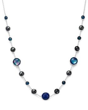 "IPPOLITA - Sterling Silver Lollipop Lapis Triplet, London Blue Topaz & Hematite Necklace in Eclipse, 18"""