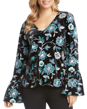 Karen Kane Floral Embroidered Velvet Bell Sleeve Top