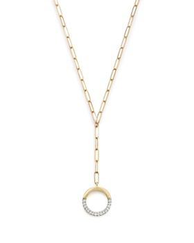 b105813187ec Adina Reyter - 14K Yellow Gold Open Pavé Diamond Circle Lariat Necklace