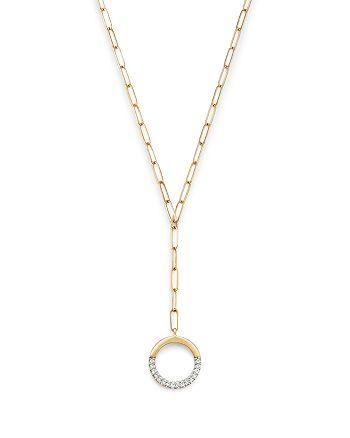 "Adina Reyter - 14K Yellow Gold Open Pavé Diamond Circle Lariat Necklace, 20"""