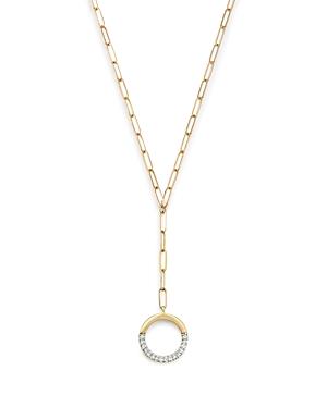 Adina Reyter 14K Yellow Gold Open Pave Diamond Circle Lariat Necklace, 20