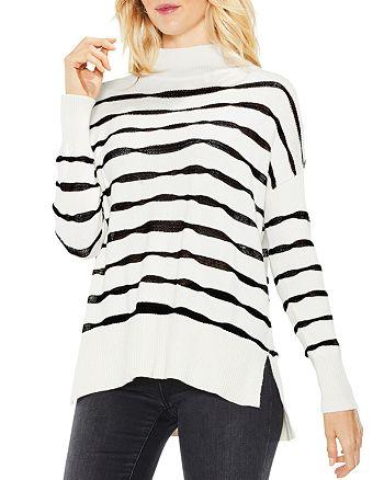 VINCE CAMUTO - Mock Neck Wavy Stripe Sweater