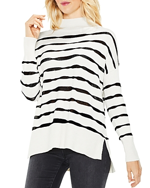 Vince Camuto Mock Neck Wavy Stripe Sweater