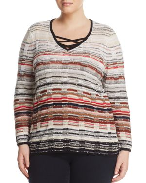 NIC AND ZOE PLUS NIC+ZOE PLUS RED HILLS CROSSOVER STRAP SWEATER