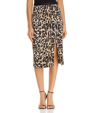 Kenneth Cole Leopard Print Satin Skirt