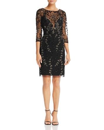 $Aidan Mattox Beaded Three-Quarter Sleeve Dress - Bloomingdale's