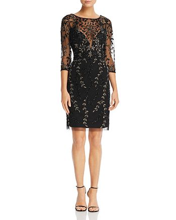 Aidan Mattox - Beaded Three-Quarter Sleeve Dress