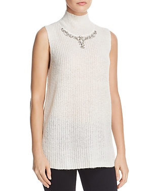 French Connection Mathilde Embellished Split-Back Sweater Vest