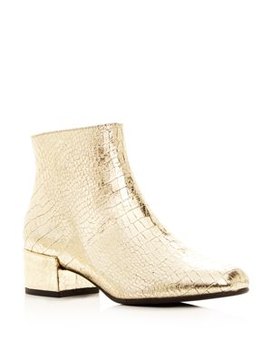 FREDA SALVADOR WOMEN'S TRUE METALLIC EMBOSSED LEATHER MID HEEL BOOTIES