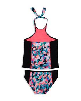 Gossip Girl - Girls' Kaleidoscope Halter Tankini 2-Piece Swimsuit - Big Kid