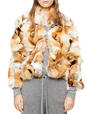 Zadig & Voltaire Liam Deluxe Real Fox Fur Patchwork Jacket