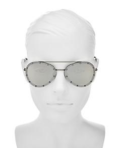 Valentino - Women's Mirrored Embellished Aviator Sunglasses, 58mm