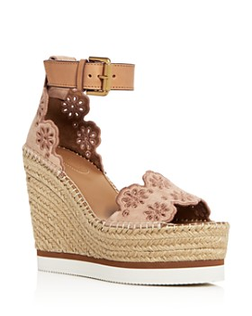See by Chloé - Cutout Suede Espadrille Platform Wedges
