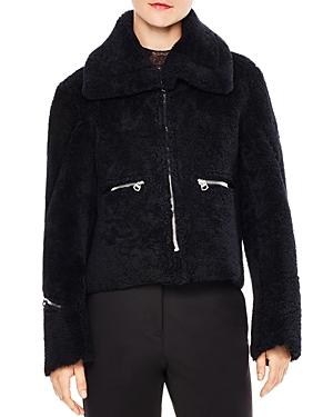 Sandro Julia Zipper-Detail Cropped Real Lamb Shearling Jacket