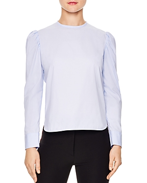 Sandro Akila Ruched-Shoulder Cotton Top