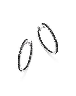 Bloomingdale's - Black Diamond Inside Out Large Hoop Earrings in 14K Gold - 100% Exclusive