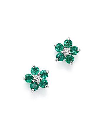 Bloomingdale's - Emerald & Diamond Flower Stud Earrings in 14K White Gold - 100% Exclusive