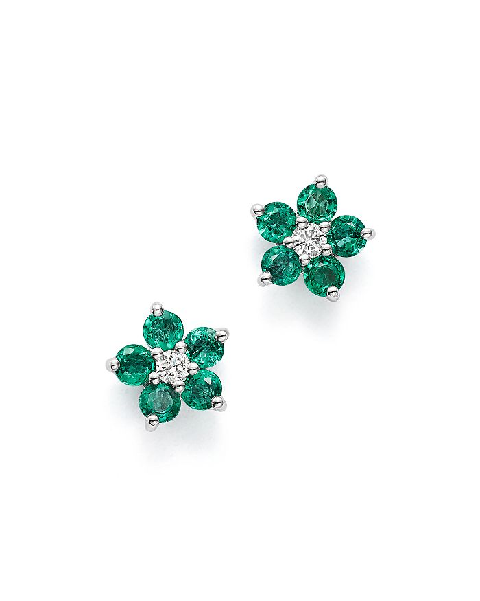Emerald Diamond Flower Stud Earrings In 14k White Gold 100 Exclusive