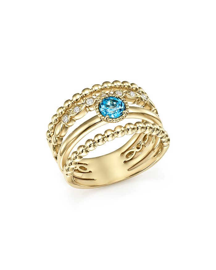 Bloomingdale's - Diamond & Blue Topaz Wide Beaded Band in 14K Yellow Gold - 100% Exclusive