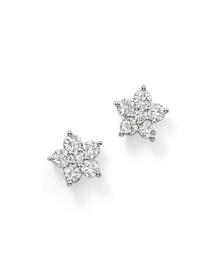 Diamond Flower Stud Earrings In 14k White Gold 1 0 Ct T W 100 Exclusive