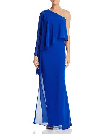 Laundry by Shelli Segal - One-Shoulder Chiffon Overlay Gown