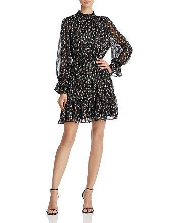 AQUA - Metallic Floral Print Dress - 100% Exclusive