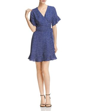 Aqua Polka Dot Ruffled Wrap Dress - 100% Exclusive