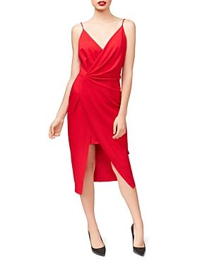 Betsey Johnson Scuba Crepe Faux-Wrap Dress