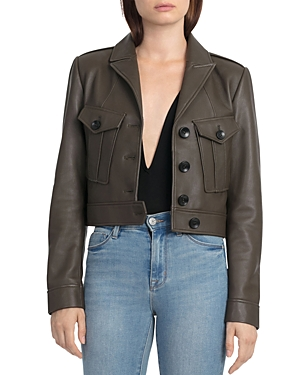 Bagatelle. city Cropped Leather Utility Jacket