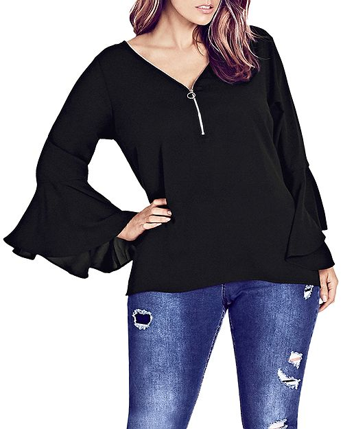 City Chic Plus - Zip-Neck Top