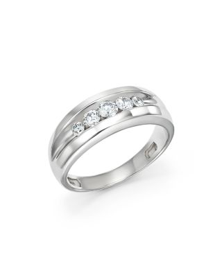 Bloomingdale's MEN'S DIAMOND FIVE-STONE BAND IN 14K WHITE GOLD, 0.50 CT. T.W. - 100% EXCLUSIVE