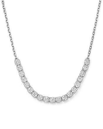 Bloomingdale's - Diamond Cluster Necklace in 14K White Gold, 2.0 ct. t.w. - 100% Exclusive