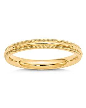 Bloomingdale's - Men's 3mm Milgrain Comfort Fit Wedding Band 14K Yellow Gold - 100% Exclusive
