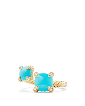 David Yurman - Châtelaine Bypass Ring with Turquoise & Diamonds in 18K Gold