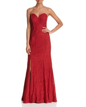 BARIANO STRAPLESS CHANTILLY LACE GOWN